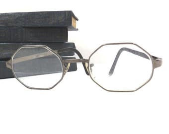 Liberty Hexagon Eyeglasses Vintage White Gold Filled Metal Frame Eye Glasses - FREE Domestic Shipping