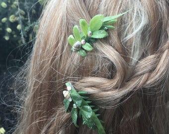 Seeweed Crystal Mermaid Hair Clip- Seashell Barrette- Mermaids, Mermaid Hair Accessory, Mermaid Costume, Ocean, Beach, Boho, Beach Bride