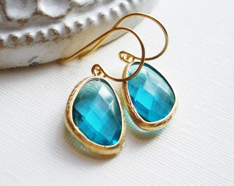 Ocean Blue Earrings In Gold, Gift For Her, Christmas Gift, Blue Drop Earrings, Vermeil Gold Earrings