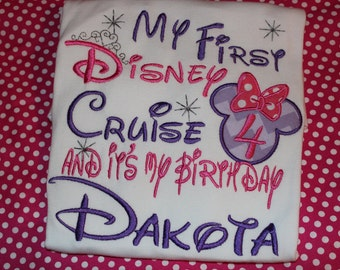 First Disney Cruise birthday shirt or ruffle dress- Disney trip birthday with Minnie Mouse- any number