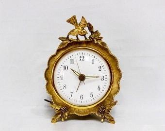 Vintage Matson Gold Gilt Ormolu, Bird & Dogwood Blossom Ornate Electric Clock Mid Century