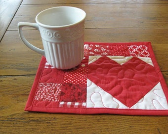 Set of 2 Red Heart Mug Rugs