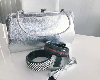 Vintage Space Age 1960's Silver Atomic Handbag -- Retro