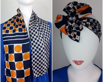 Fun Mod Vintage 60s 70s Blue, Orange and White Geometric Squares & Circles Shapes Long Scarf