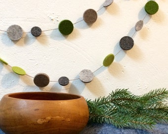 Homecoming garland with a touch of hygge upcycled wool felt holidays rustic woodland modern gray green garland birch