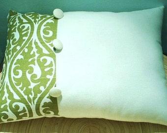 FREE SHIPPING 16x12 Green Damask Button Accent Lumbar Pillow