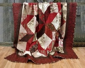 Custom Listing for Toni Queen Quilt Josephine HANDMADE Patchwork Quilt French General Moda Red Cream Chocolate 91x92""