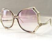 80s Vintage Bling Bling Spider Web Shape Big Clear Sunglasses