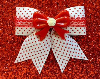 Pinup Rosie Lace Dream Hair Bow - White with Red Lace - Swiss Dots - Retro - Pinup - 50s
