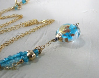 Blue Necklace, Blue Murano Glass Necklace, Venetian Glass Necklace, Gold Necklace, Blue Necklace, Blue Gold Necklace - Blue Skies