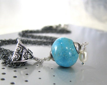 Turquoise Necklace, Sterling Silver, Blue Turquoise Necklace, Genuine Turquoise, Blue Necklace, Freshwater Pearls - A Pirates Tale