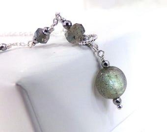 Labradorite Necklace, Green Labradorite Necklace, Sterling Silver, Lariet Style Necklace, Beaded Necklace, Gemstone Necklace  - Stellar