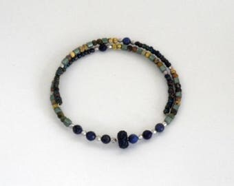 choker, beaded, modern,wrap style sodalite necklace