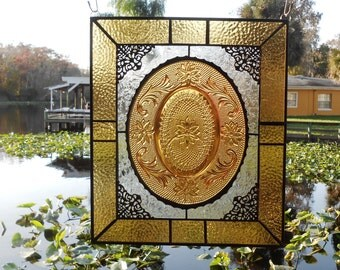 Stained Glass Panel w/ Tiara Sandwich Glass Plate, Recycled Stained Glass Transom Window with Dish, Antique Glass Valance, Amber Suncatcher