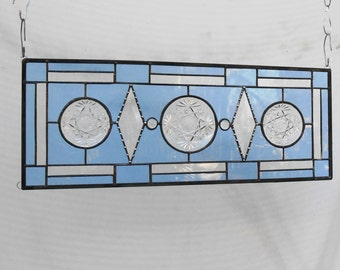 Vintage Stained Glass Transom Window, Depression Glass Stained Glass Panel, OOAK Recycled Glass Window Valance, Antique EAPG Oatmeal Coaster