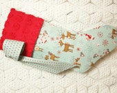 Adorable Child's Christmas Stocking with Log Reindeer, Bunnies, Squirrels and Snowflakes and Vintage Chenille Cuff