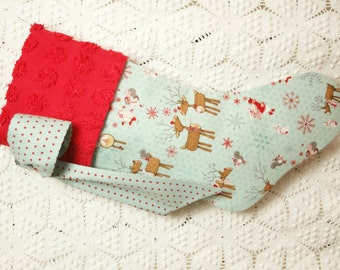 Adorable Child's Christmas Stocking with Log Reindeer, Bunnies, Squirrels and Snowflakes and Vintage Chenille Cuff - MADE TO ORDER