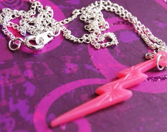 Bright Pink Lightning Bolt Charm Earrings,Retro Jewellery,Rave Necklace,Party Gift,Ladies Gift,Gift For Her,Costume Jewellery,Fun Accessory