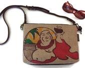 I Love you More Than Coffee. Denim and Buddha Crossbody Bag. Repurposed Coffee Sack. Handmade in Hawaii by Manila Extract.