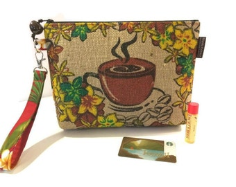 MTO. Custom. Coffee Lover. Gift for Her. Burlap Wristlet or Clutch. Bird of Paradise. Plumeria. Repurposed Kauai Coffee Bag. Handmade in HI.