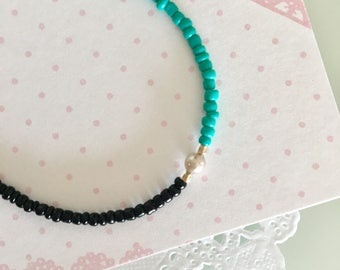 turquoise and black seed bead friendship bracelet beach boho summer bracelet