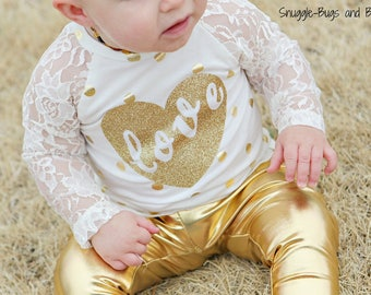 Gold or silver leggings and gold or silver polka dot raglan shirt/you customize word on shirt