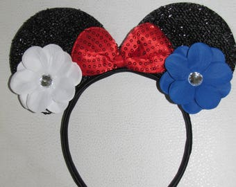 10 minnie mouse inspired party favor headband bow ears disneyland birthday hair accessorie 4th of july party  10