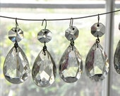 "10 Vintage Glass Tear Drop Almond Shape Pendants Chandelier Crystals LAMP PARTS 1-1/2""L"
