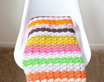 SALE - Rainbow Crochet Afghan Throw Blanket