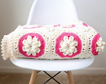 GORGEOUS Ornate Floral Crochet Afghan