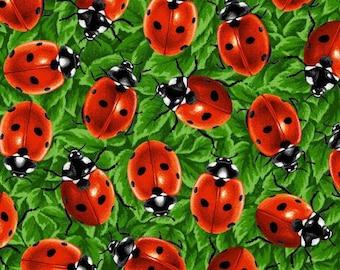 Paintbrush Studio - You Bug Me - Ladybugs - Green - Fabric by the Yard 120-13771