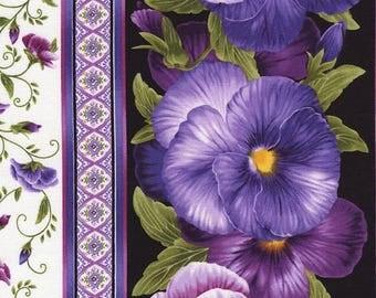 Timeless Treasures Black Pansies Stripe Fabric by the yard C4463-BLK