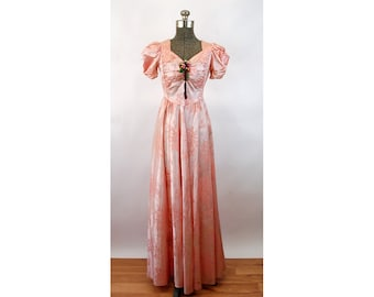 1940s satin gown pink flocked puffed sleeves sweetheart neckline shirred bodice Size S