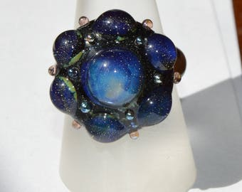 Unique Artisan made Lampwork Glass Interchangeable Ring Topper - SRA - 2.5mm nut - Cabochon
