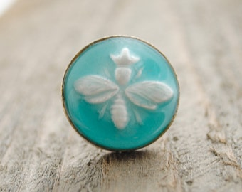 Queen Bee Ring - Large Ring - Statement Ring - Artisan Bee Relief Ring - Turquoise, Clay Pendant, Bumble Bee, Bee Jewelry