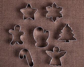 MINI Christmas Cookie Cutter Set, Mini Gingerbread Man Cookie Cutter, Mini Angel Cookie Cutter, Mini Biscuit Cutter, Mini Star Cookie Cutter
