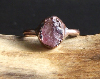 Raw Crystal Spinel Ring Copper Natural Small Stone Ring Midwest Alchemy Rough Stone Jewelry Size 5.5