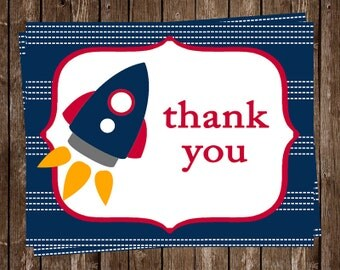 Rocket, Spaceship, Thank You Cards, Baby Shower, Boys, Outer, Space, Ship, Blue, Red, Yellow, Astronaut, 24 Folding Notes, FREE Shipping