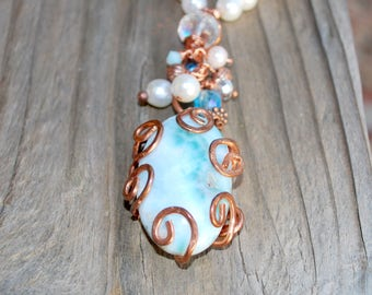 Blue Pearl Copper Pendant Necklace Seaside Wedding Anniversary Mothers Day Christmas Cottage Chic Boho Handmade Pastel
