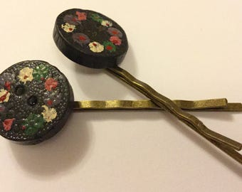 Vintage Floral Handcarved Wooden Button Hair Slides Clips Grips Pins Combs Hairgrips Hairclips