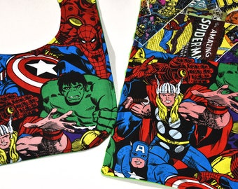 Baby Bib Security Blanket Super Hero Marvel Set Baby Boy Girl Mom Gift, Gender Neutral, Infant Gift Idea, Made From Marvel Fabric