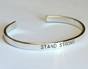 Stay strong sterling silver cuff bracelet - solid925 BR7540