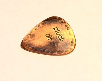 Pluck Off Copper Rustic Guitar Pick with Antiqued Patina and Hammered Texture