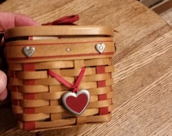 Gorg Longaberger Valentines 5 pc Bskt Set w Heart Rivets--New Cond