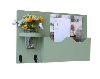 Mail Key Holder - Mail Organizer - Mail Holder - Large Mail Slot - Double Slots - Key Hooks - Jar Vase - Organizer - Painted Distressed Wood