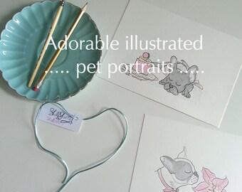 Pet Portrait, pet pawtrait, custom pet portrait , custom dog portrait , custom cat portrait, pet portrait Illustration, gifts for pets