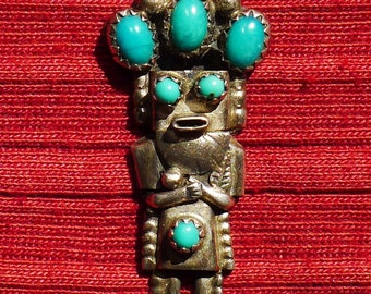 Navajo Sterling Silver Turquoise Kachina Pendant Necklace