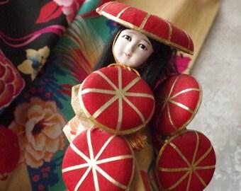 Vintage Japanese Geisha Doll - Japan Kimono Hat Dancer Doll Kimono Garb