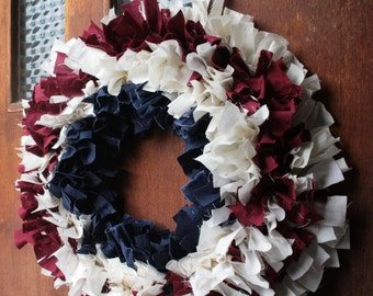 Fabric Scrap Wreath in Patriotic Country Colors of Navy, Cream, and Scarlet Red