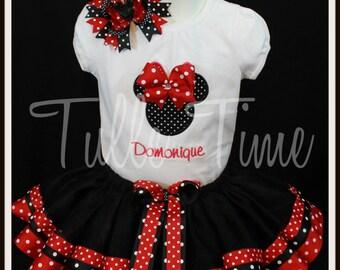 Ribbon trim Black red polka dot Minnie birthday onesie tutu dress size 6-12m 12m 18m 24m 2t 3t 4t 5t
